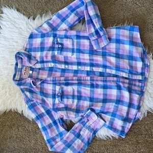 Old Navy Blue & Pink Plaid Women's Button Down